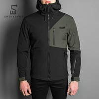 Демисезонная мужская куртка Pobedov Soft Shell Boris черно-зеленая