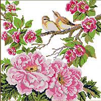 Вышивание крестиком Идейка Птицы на цветах (ide_H343) 37×37 см