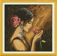 Набор для вышивки Идейка Девушка с розой (ide_R339) 46 х 46 см