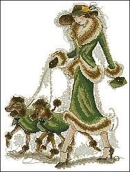 Вышивание крестиком Идейка Дама с собачками (ide_R435) 33×41 см