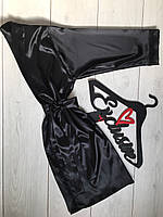 Черный шелковый халат с кружевом 090, домашняя одежда.