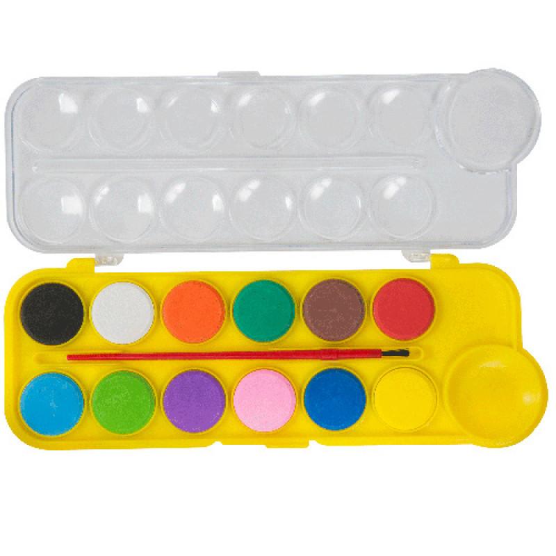 Краски акварельные, 12 цветов, пластиковая коробка, ZB.6559-08