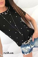 Летняя женская футболка с бусинами, фото 1