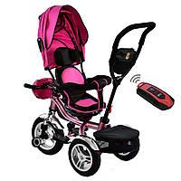 Велосипед трехколесный с родительской ручкой и пультом Best Trike Розовый 360° ПОВОРОТНОЕ СИДЕНИЕ 5890 - 9067