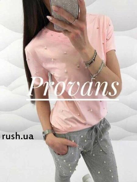 Летняя женская футболка с бусинами