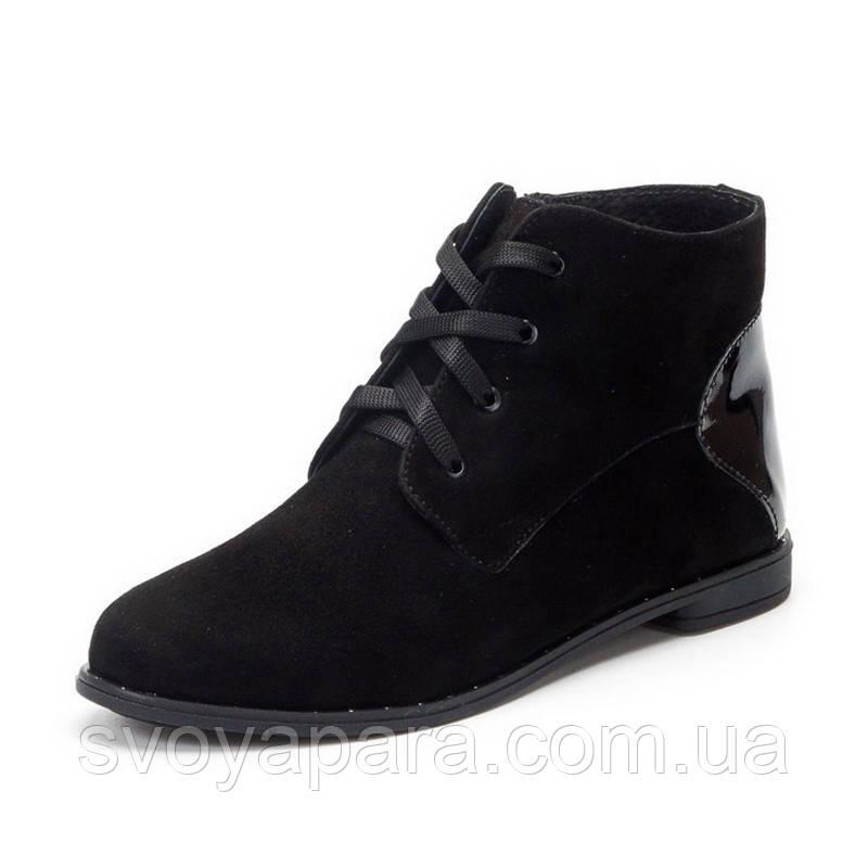 Женские демисезонные ботинки черные замшевые (00191)