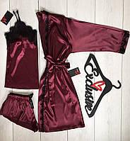 Шелковый халат и пижама -комплект для дома 090-020 вишня.