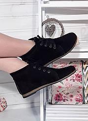 Женские демисезонные ботинки черные замшевые (104111)