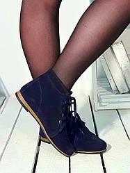 Женские демисезонные ботинки синие замшевые (104112)