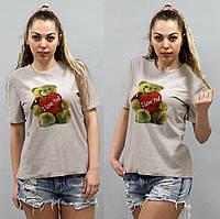 Женская футболка с рисунком мишки трикотажная