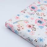 """Ткань хлопковая """"Воробьи и анемоны"""" розово-голубые на белом  № 1977а, фото 2"""