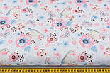 """Ткань хлопковая """"Воробьи и анемоны"""" розово-голубые на белом  № 1977а, фото 3"""