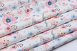 """Тканина бавовняна """"Горобці і анемони"""" рожево-блакитні на білому № 1977а, фото 5"""