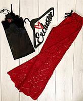 Красные кружевные штаны+атласная майка с кружевом-женский комплект 087.