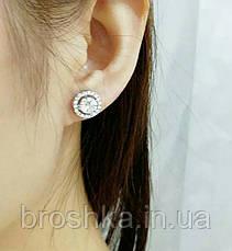 Белые серьги гвоздики xuping с камнями ювелирная бижутерия, фото 2