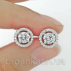 Белые серьги гвоздики xuping с камнями ювелирная бижутерия, фото 3