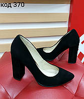 Замшевые туфли из натур чёрной замши Код 370