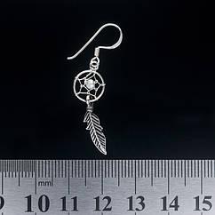 Серьга, ловец снов маленький с перламутровым камнем (eas-047)