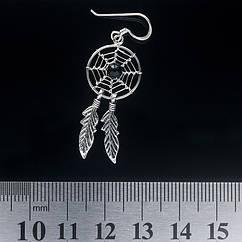 Серьга, ловец снов средний с черным камнем (eas-048)