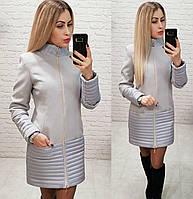 Комбинированное пальто весна - осень, арт 137, цвет серый