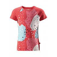 Коралловая футболка для девочки Reima Krassi размеры 104;110;116;122;128;134;140;146;152 лето девочка TM Reima 536262-3340