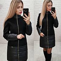 Комбинированное пальто весна - осень, арт 137, цвет черный