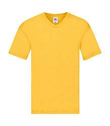Мужская футболка с v-образным вырезом тонкая желтая 426-34