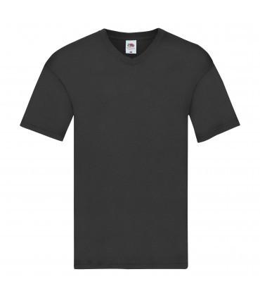Мужская футболка с v-образным вырезом тонкая черная 426-36