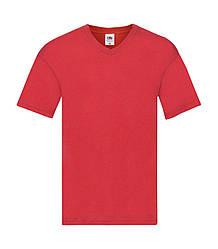 Мужская футболка с v-образным вырезом тонкая красная 426-40