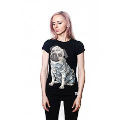 Футболка Urbanist Tattoo Pug Black Female, Размер XS