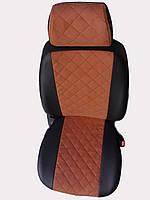 Чехлы на сиденья Чери Амулет (Chery Amulet) (модельные, экокожа Аригон+Алькантара, отдельный подголовник) Черно-коричневый