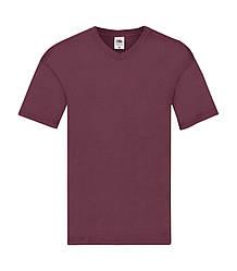 Мужская футболка с v-образным вырезом тонкая бордовая 426-41