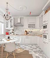 Белая кухня с карнизами и фрезероваными фасадами, фото 1