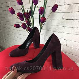 Туфли лодочки из замши на широком каблуке тёмный бордо