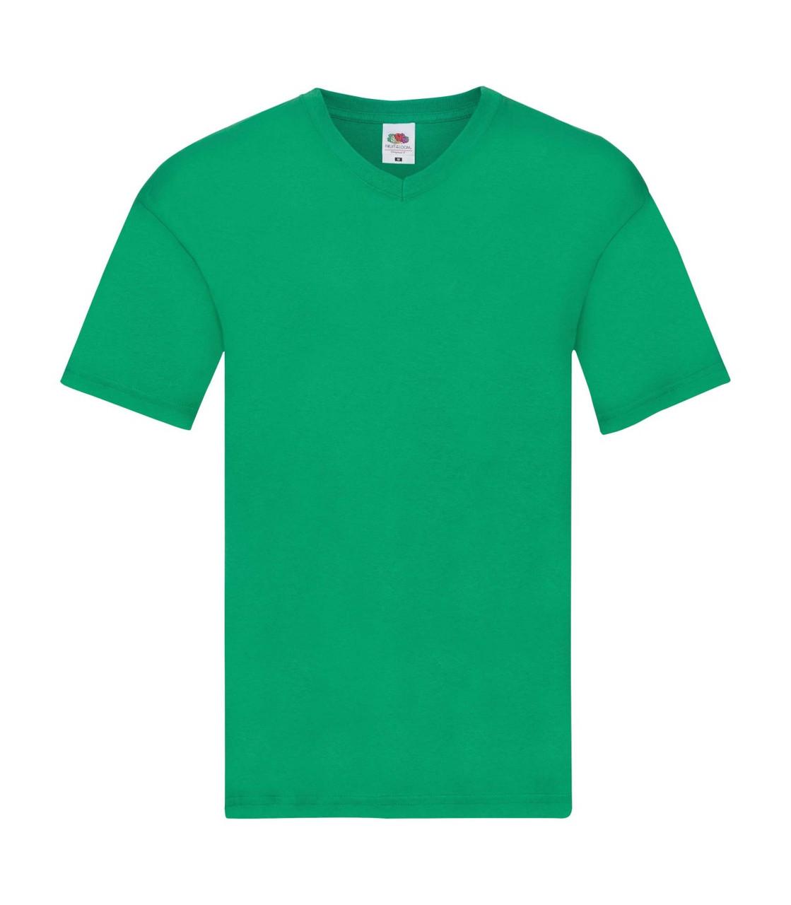 Мужская футболка с v-образным вырезом тонкая зеленая 426-47