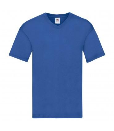 Мужская футболка с v-образным вырезом тонкая синяя 426-51