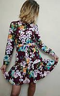 Женское короткое платье с рюшей и поясом П256 , фото 1