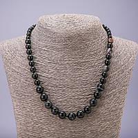 Бусы из натурального камня Агат черный на увеличение бусина гладкий шарик d-6-10мм L-48см