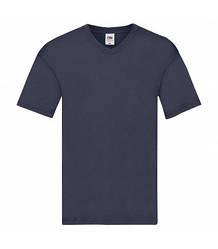 Мужская футболка с v-образным вырезом тонкая темно-синяя 426-АЗ