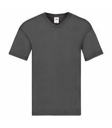 Мужская футболка с v-образным вырезом тонкая темно-серая 426-ГЛ