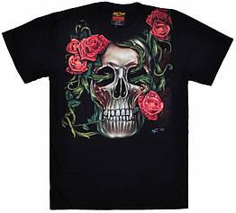 Футболка Skull with rose - Forever Love (вечная любовь) светится в темноте, Размер L