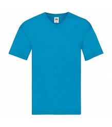 Мужская футболка с v-образным вырезом тонкая бирюзовая 426-ЗУ