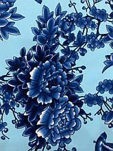 Голубая креп-костюмка с синими цветами