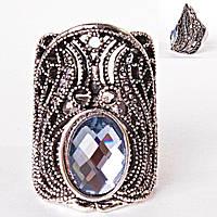 """Перстень """"волшебный"""" крупный камень овал Чешское стекло на всю фалангу"""