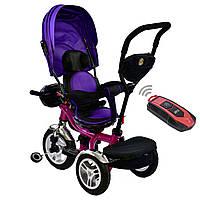 Велосипед трехколесный с родительской ручкой и пультом BestTrike Фиолетовый 360°ПОВОРОТНОЕ СИДЕНИЕ 5890 - 1009
