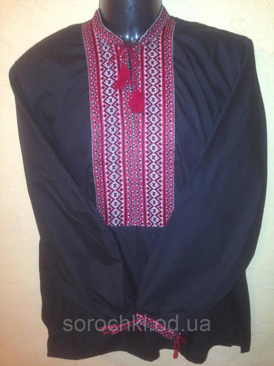 Вышиванка мужская ,  с красной вышивкой , материал  поплин, черная и белая