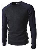 Модные мужские свитшоты без капюшона.Свитшот 1488 Черно-синий.