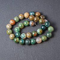 Бусины натуральный камень на нитке Яшма цветная L-39см d-12мм