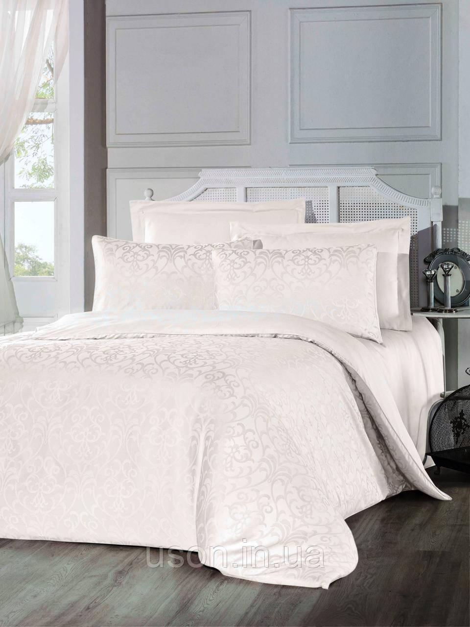 Комплект  постельного белья из  жаккарда евро размер ТМ ALTINBASAK Elizya krem