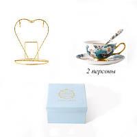 Чашка с блюдцем костяной фарфор кофейная чайная, чайные кофейные наборы на 2, 4, 6 персон, Bird 2 х (чашка, блюдце, ложка)+под. коробка, подставка для